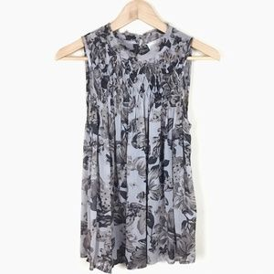 LUCKY BRAND Semi-Sheer Floral Pin Tucked Tank